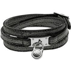 Michael Kors Triple-Wrap Padlock Bracelet, Black ($66) ❤ liked on Polyvore