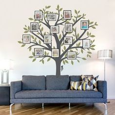"""Family Tree Decal:  This decal does the """"wood"""" work for you—all you need to do is add framed photos."""