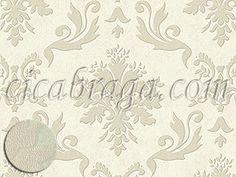 Ciça Braga - Papel de parede   Papel de Parede Casabella Muresco (Argentino) - Colonial (Tons de Bege/ Detalhes com Brilho Dourado) - COLA GRÁTIS