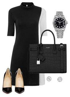 """Midday meeting"" by jessica-misc ❤ liked on Polyvore featuring Yves Saint Laurent, Rolex and Christian Louboutin"
