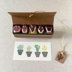 Sellos de goma de nopal, set de 5 mini sellos, mano talladas, suculentas plantas, plantas de cactus, cactus