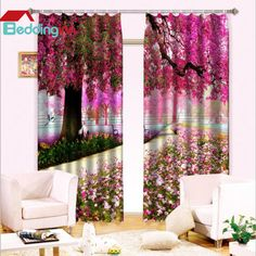 Fancy beautiful scenery 3d curtains for you! http://www.beddinginn.com/product/Wonderful-Trees-Colorful-Flowers-Light-Blocking-3d-Curtain-11314977.html