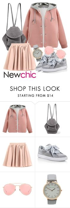 """""""NEWCHIC Outfit Style"""" by kirie59 ❤ liked on Polyvore featuring MANU Atelier, Puma, Dita, Summer, chic, leatherjacket, New and newchic"""
