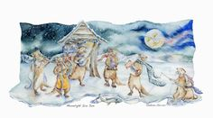 Moonlight Ice Jam Plaque by MysticalWoodsStudio on Etsy Folk Bands, Otters, Moonlight, A Table, Original Artwork, Moose Art, Illustration Art, Creatures, Tapestry