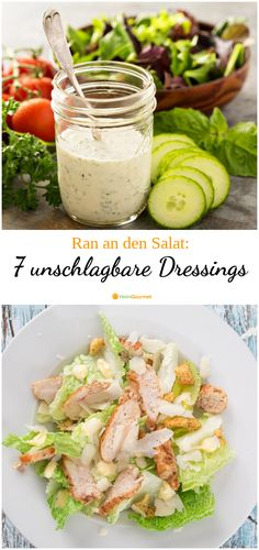 Ran an den Salat: 7 unschlagbare Dressings für Abwechslung auf dem Salatteller Summer time is salad time. And since the combination vinegar / oil is boring in the long run, we have the best recipes for vinaigrette, dressing and salad dressing for you. Veg Recipes, Healthy Salad Recipes, Salad Dressing Recipes, Vinaigrette Dressing, Salad Plates, Food Inspiration, Dips, Food And Drink, Eat