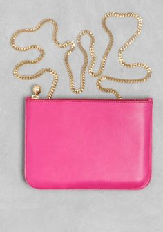 & Other Stories   Small leather clutch    Pink Dark