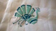 paw, peacock, haft, haft krzyzykowy, cross stitch, Durene Jones