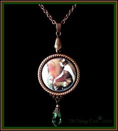 Antiqued Copper/Green 1920's Woman Photo Cameo Necklace | TheVintageDiva - Jewelry on ArtFire