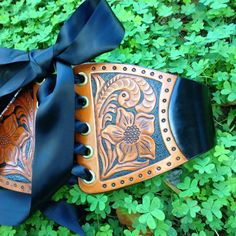 Western Floral Hand Tooled Leather Wide Waist by ContrivedtoCharm