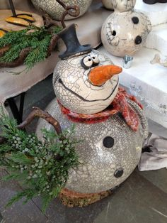 Snowman pinch pot project! Add fabric scarf and twigs for arms!