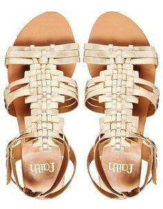 Image 4 ofFaith Gold Flat Gladiator Sandals