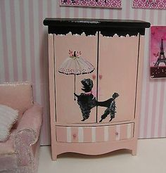 Miniature Dollhouse Furniture Biz Pink French Armoire Black Poodle hand painted by Janet Peters