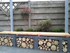 Bench & wood storage