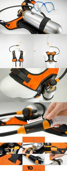 TIO by designer Ivo Wawer. It's a diving system that combines the simplicity of snorkeling and the advantages of under water breathing while diving. A small compressed air cylinder allows for a few minutes of breathing under water, while extending the snorkeling experience. #Snorkeling #ScubaDiving #Design #Innovative #Creative #Water #Activity #Sport #Outdoor #Saftey #YankoDesign