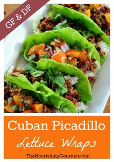 Recipe: Cuban Picadillo Lettuce Wraps - a lovely summer dinner that is also #healthy, #glutenfree, and #paleo (when you leave out the rice). Yum!