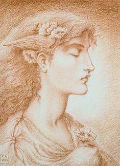 Simeon Solomon, Sleep, [Via Christie's] Pre Raphaelite Paintings, Pre Raphaelite Brotherhood, John Everett Millais, Victorian Art, Solomon, Cool Drawings, Art Inspo, Amazing Art, Mythology