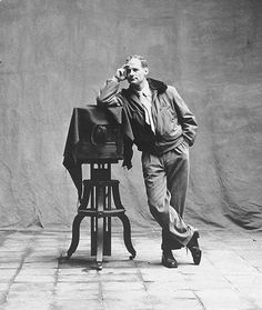 """Irving Penn, Self-portrait, Cuzco Studio, 1948. """"I myself have always stood in the awe of the camera. I recognize it for the instrument it is, part Stradivarius, part scalpel."""" -- Irving Penn"""