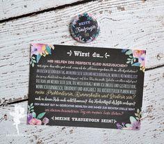 Trauzeugin+❤+Karte+++Button+von+Feenstaub+auf+DaWanda.com