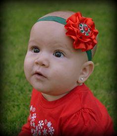 Christmas HeadbandRed Green Holiday by LittleMissBlingNYC on Etsy, $9.95