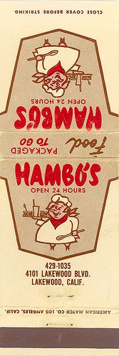 Hambo's Matchbook Cover