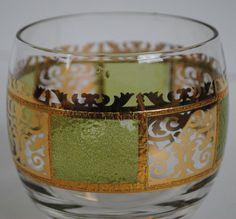 Culver Prado Green Gold Rocks Glasses Roly Poly Mid Century Modern Set of 4 #CULVER