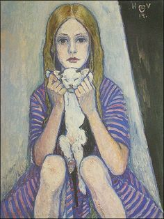 Girl with a cat, Heinrich Vogeler