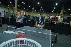 Both attendees and exhibitors participated in the Rec Room Olympics. The games consisted of: Table Tennis, Beer Pong, Knock Em in the Pocket, Tiki Toss, and Darts.
