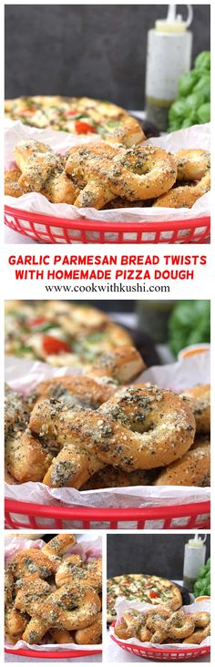 Garlic Parmesan Bread Twists or Garlic Knots are easy to make, buttery and melt-in-mouth, super soft and fluffy made using fresh homemade pizza dough from scratch which is then topped with flavorful garlic cheese butter. Best Bread Recipe, Easy Bread Recipes, Side Dish Recipes, Easy Dinner Recipes, Appetizer Recipes, Holiday Recipes, Easy Meals, Side Dishes, Vegan Indian Recipes