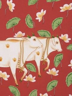 Kamdhenu, the Sacred Cow of abundance. on canvas from Studio Kishangarh