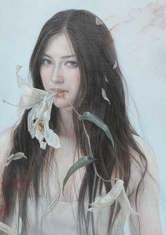 """諏訪敦による""""松井冬子"""" 花を食べる Eating A Flower (2011)"""