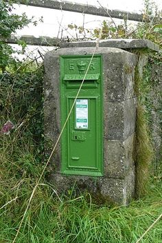 When Ireland gained her independence from Britain in the 1920's, the new state inherited many post boxes embossed with a royal crown.  Rather than build new boxes, the Irish merely covered them up with a coat of green paint.