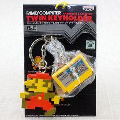 RARE! Super Mario Bros. Twin Keyholder Chain Figure Famicom NES NINTENDO JAPAN