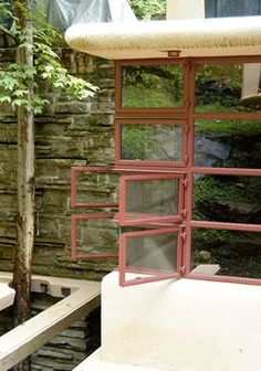 Corner window The Kaufmann House, Fallingwater FLW Pennsylvania, when the windows are closed, you cannot hear the falls, open, and you feel the life.