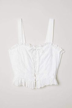 c33bc8eeaf H M Top with Eyelet Embroidery - White H m Tops