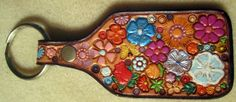 Leather Flower Garden Key Fob with Purple Border by galeatherlady