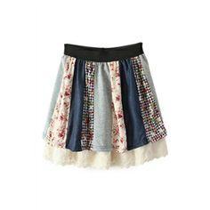 Lace Dual-tone Floral Layered Skirt | pariscoming