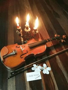 Candles, Violin, White Flowers. Romantic GIF
