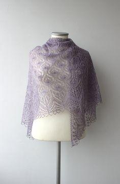 Lilac hand knitted shawl, merino / silk lace shawl, Estonian lace