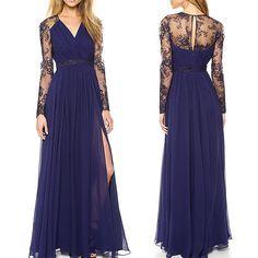 Femmes Col V lacent longue robe maxi robe de soirée cocktail robe de bal dress in Vêtements, accessoires, Femmes: vêtements, Robes   eBay
