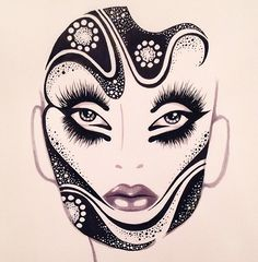 Stunning Makeup face chart created by Timothy Hung, Blanche Macdonald grad and instructor. Very Alex Box.