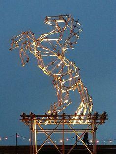 Dismaland - horse made of scaffolding poles Scaffold Poles, Scaffolding, Little Acorns, Utility Pole, Horses, Garden, Garten, Lawn And Garden, Staging