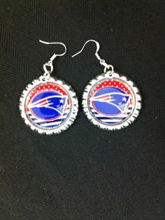 Earrings Inspired by New England Patriots Football Jewelry #Jewelry #Fashion #Earrings
