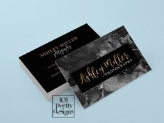 Black marble business card black and rose gold by 101prettydesigns
