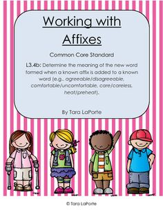 This affixes set works with explaining prefixes, base words, and suffixes. It includes sorts, fill in the blanks, and open ended explain the meaning pages. It is aligned with Common Core Standard Prefixes And Suffixes, Common Core Standards, New Words, Teacher Newsletter, Third Grade, Teacher Pay Teachers, Meant To Be, It Works, Teaching