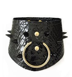 Leather Collar with O-Ring and by TempestAndSerenity