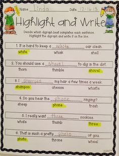 Highlight and Write {Printables for the Common Core}