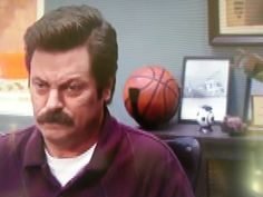 Ball Claw behind Ron Swanson in his office on Parks and Recreation!