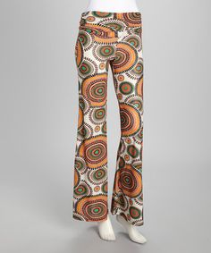 Take a look at this Orange Retro Circle Palazzo Pants by Modern Touch on #zulily today!