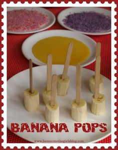 Frozen banana pops - a quick easy snack or pudding to make with kids.