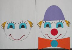 * Clown kleurenspel! Je kunt dit net zo makkelijk /moeilijk maken als je zelf wilt. De clowntjes liggen op de grond ernaast liggen de losse onderdelen: hoed, strik, knoop en rode neus. Je vertelt bv een verhaal over clowntjes daarna de opdracht: geen enkel clowntje mag er hetzelfde uitzien!
